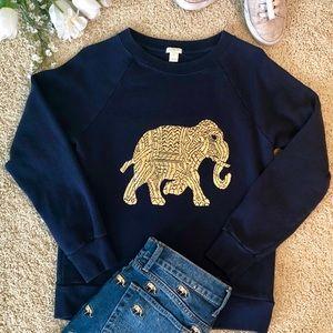 J Crew navy blue elephant sweatshirt size S